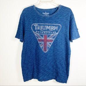 Indigo Triumph Motorcycle Badge Tee size M